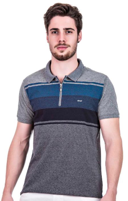 Camisa Polo Masculina Hifen Cinza com Listras