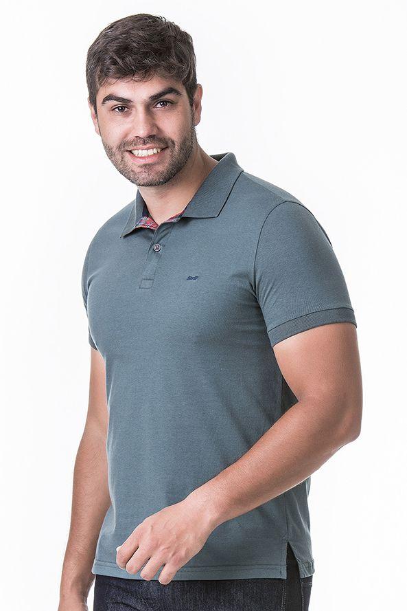 Camisa Polo Masculina Hifen Cinza Azulado