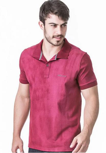 Camisa Polo Masculina Hifen com Lavagem Tie Dye Vinho