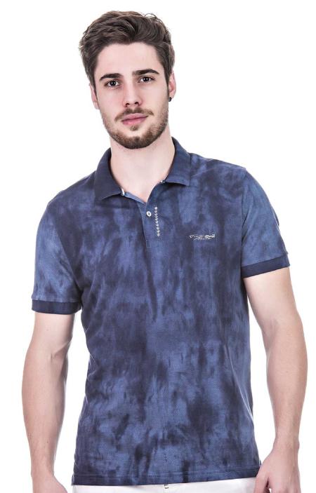 Camisa Polo Masculina Hifen Fio Tinto Azul