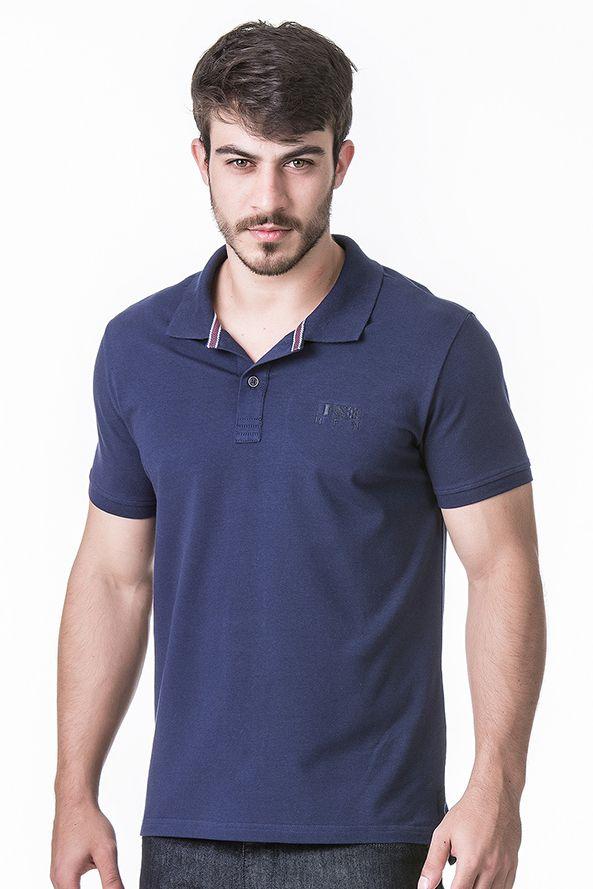 Camisa Polo Masculina Hifen Lisa Azul