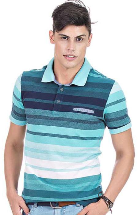 Camisa Polo Masculina Hifen Listrada Azul - Piquet