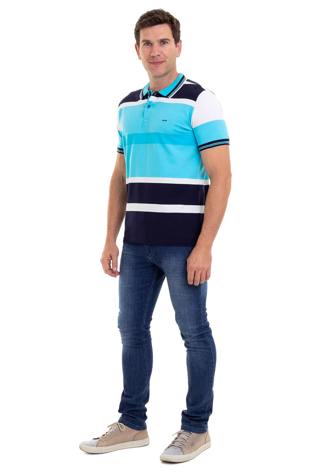 Camisa Polo Masculina Hifen Listrada Azul