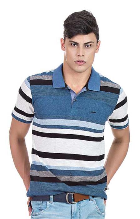 Camisa Polo Masculina Hifen Listrada Azul e Cinza