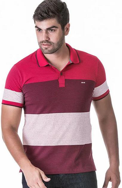 Camisa Polo Masculina Hifen Listrada em Fio Tinto Vermelha
