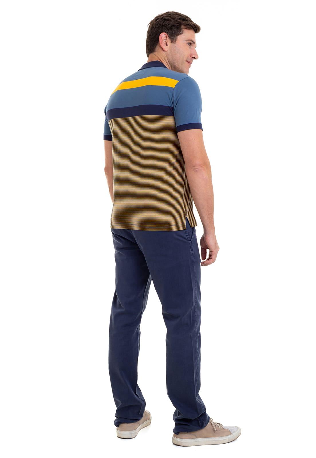 Camisa Polo Masculina Hifen Listrada Fio Tinto 100% Algodão