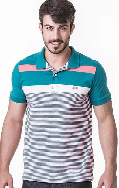 Camisa Polo Masculina Hifen Listrada Fio Tinto 100% Algodão Verde