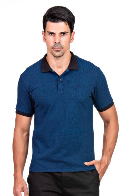 Camisa Polo Masculina Hifen Piquet Azul