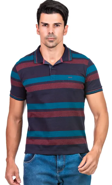Camisa Polo Masculina Listrada Hifen Azul