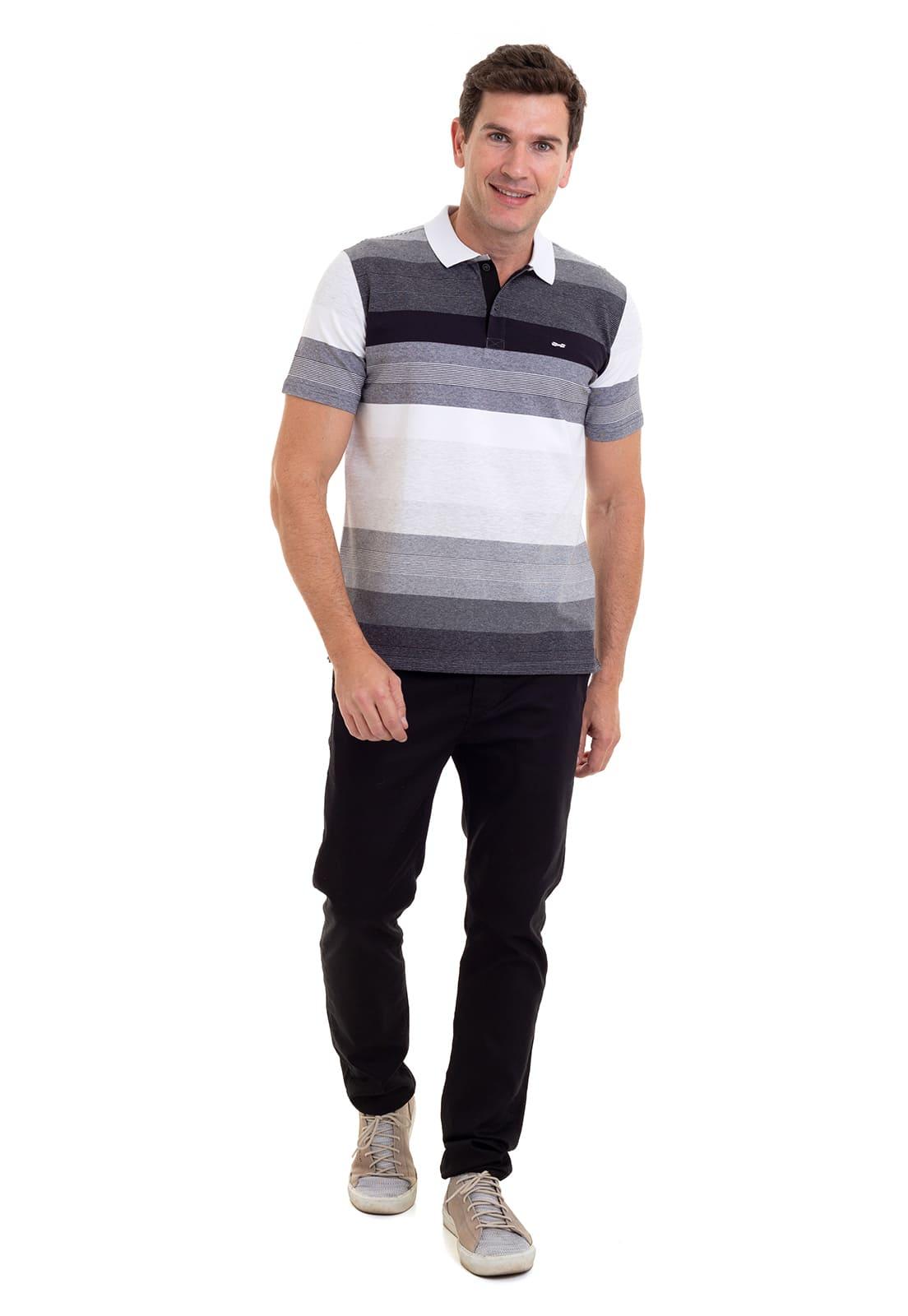 Camisa Polo Masculina Listrada Hifen Fio Tinto e Patô