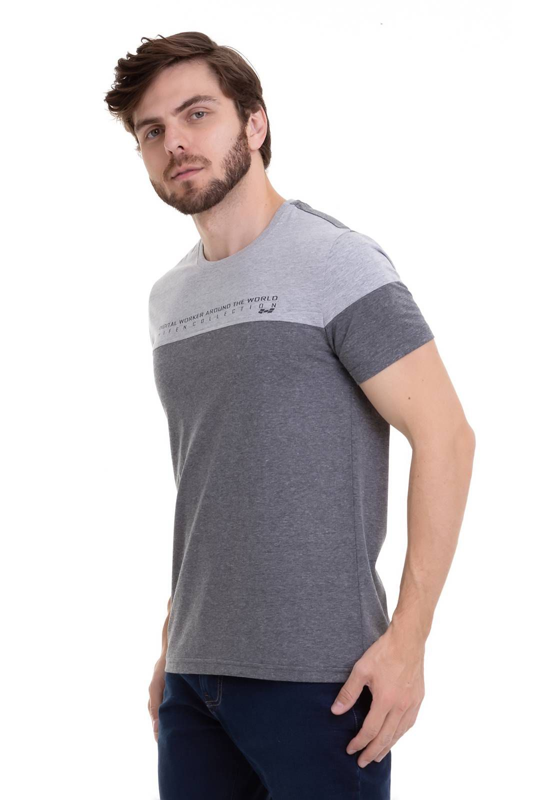 Camiseta Bicolor Com Estampa Silk Cinza