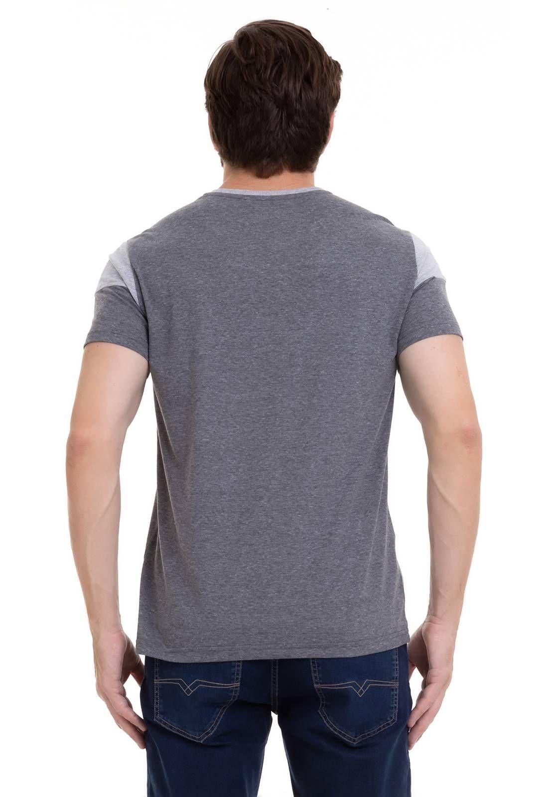 Camiseta Bicolor Com Estampa Silk Cinza