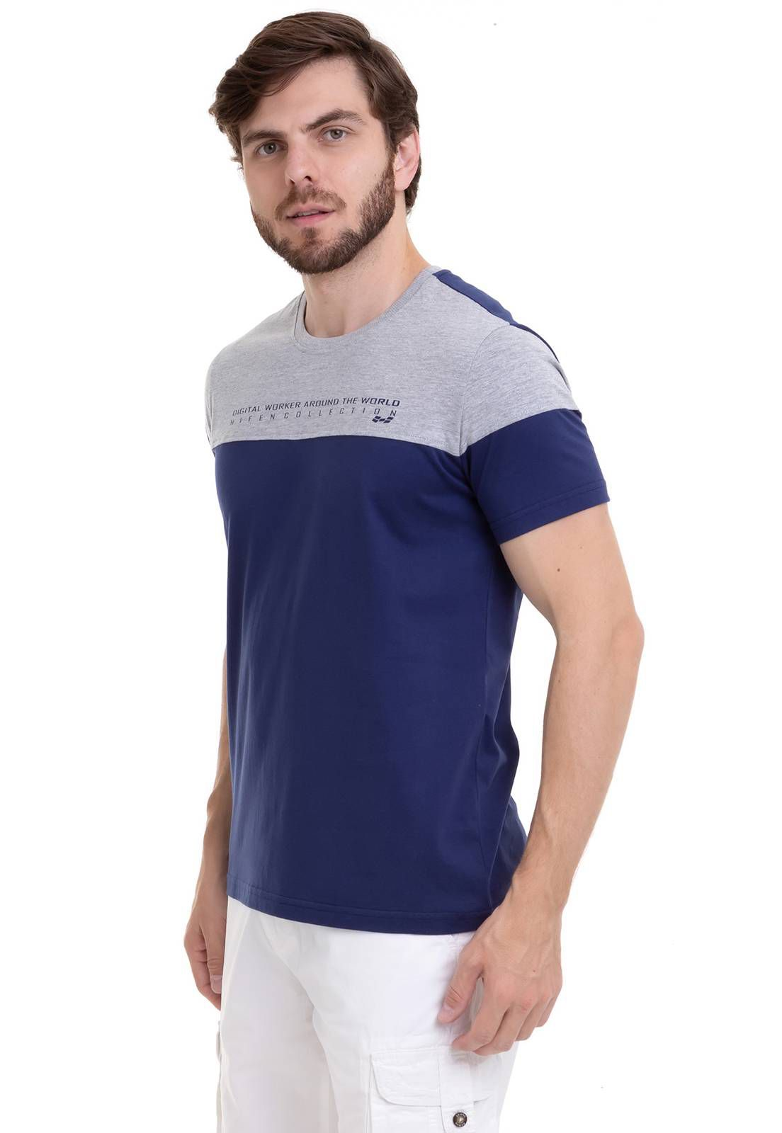 Camiseta Bicolor Com Estampa Silk Azul