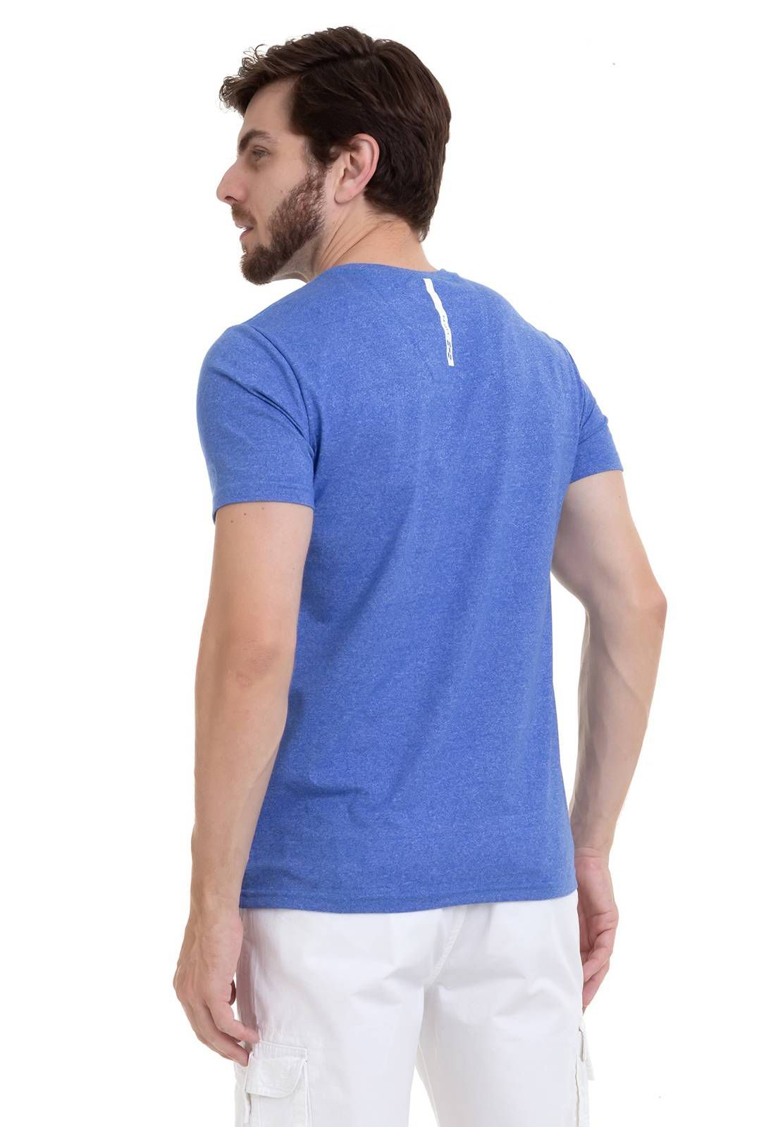 Camiseta Com Efeito Mescla Azul