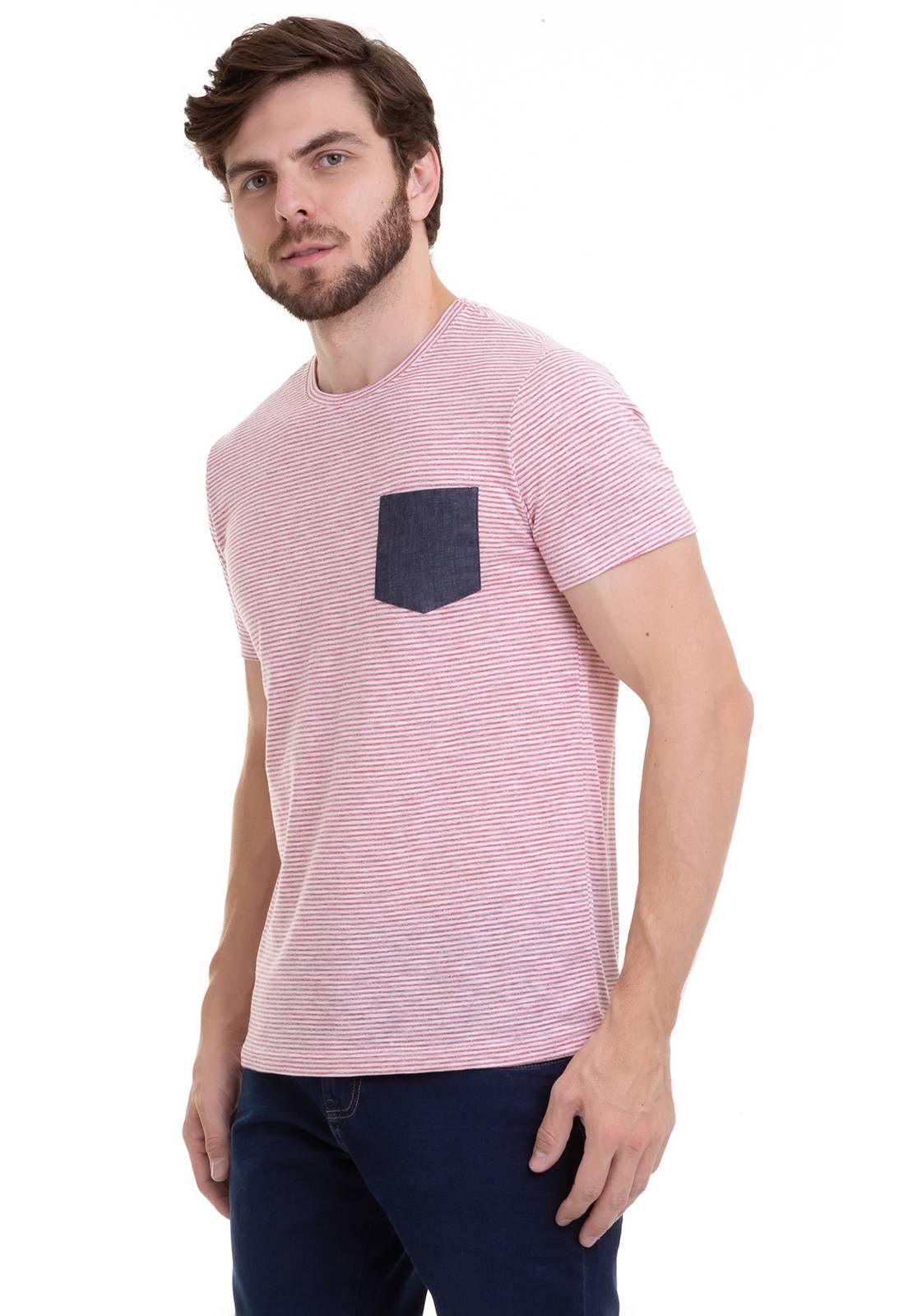 Camiseta em Listras Finas Com Bolso Jeans Terracota