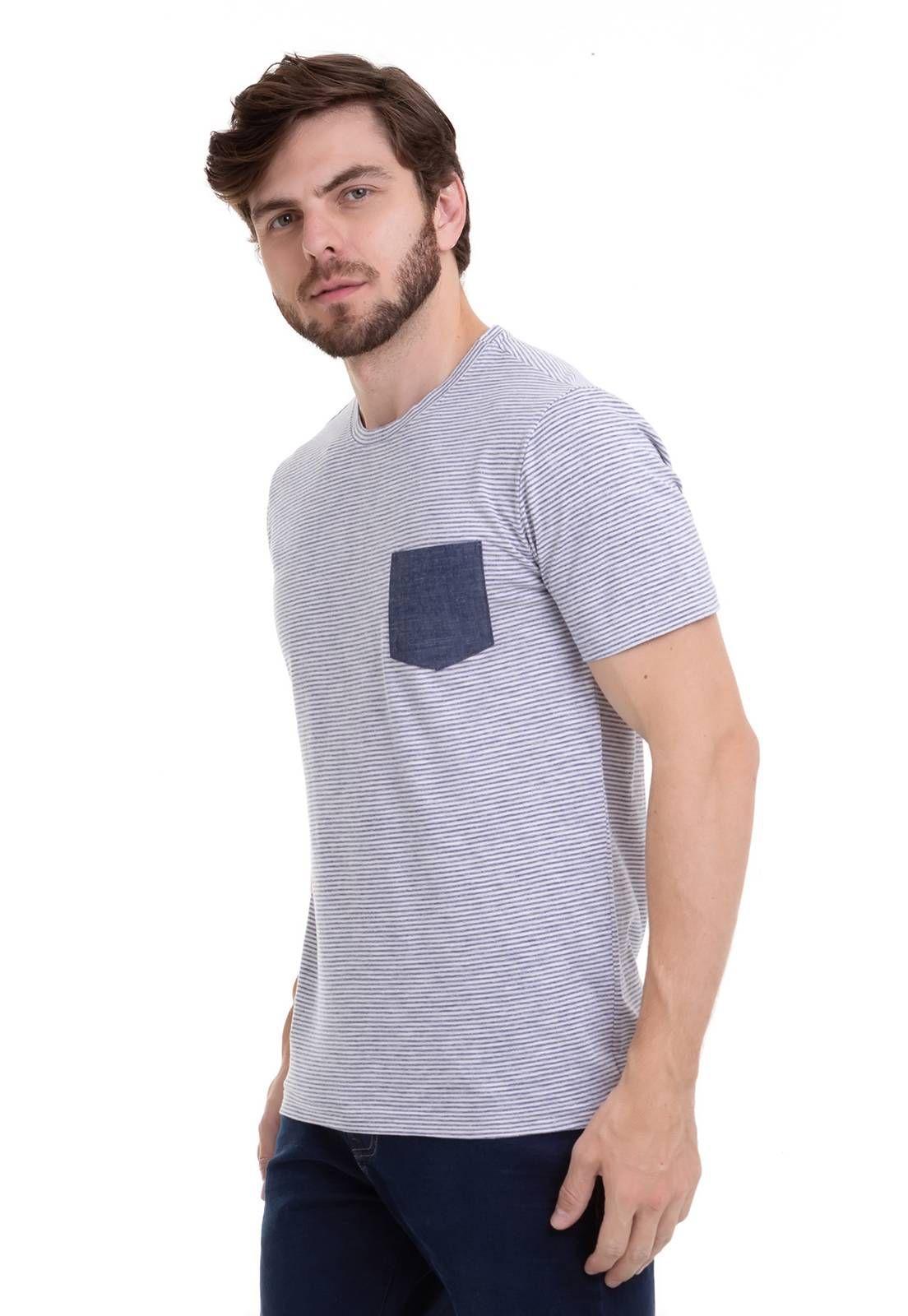 Camiseta em Listras Finas Com Bolso Jeans Azul Aço