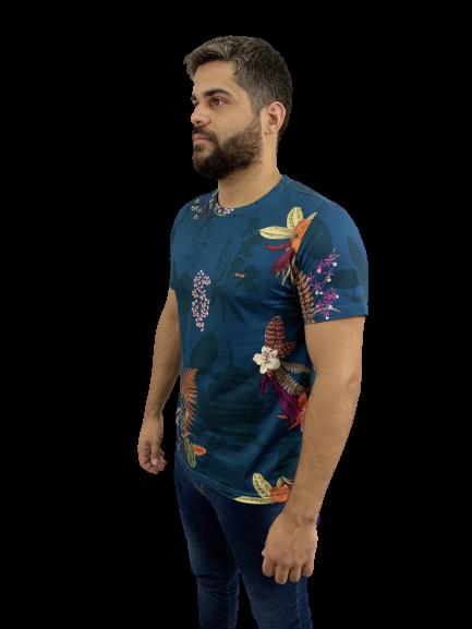 Camiseta Estampada Em Malha Azul
