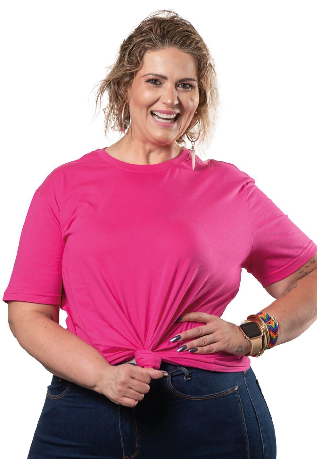 Camiseta Feminina 100% Algodão Super Premium, Na Cor Rosa