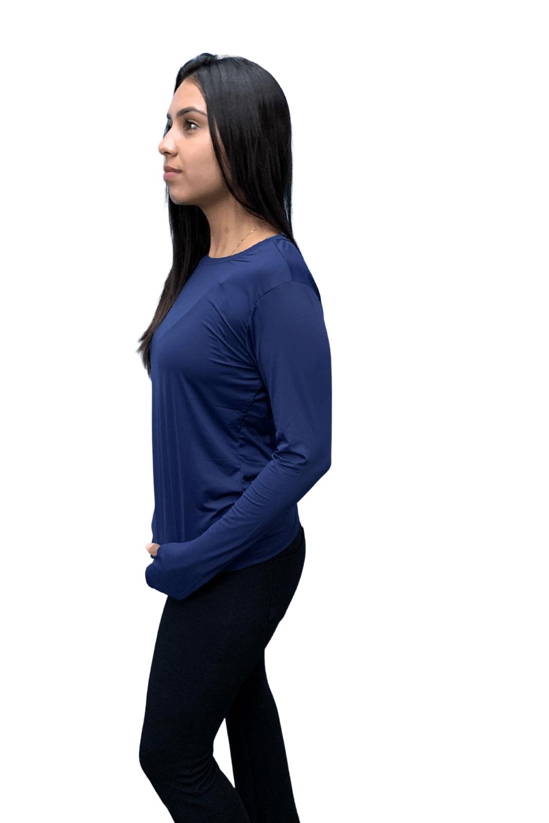 Camiseta Feminina Hifen  UV 50+ Manga Longa Marinho