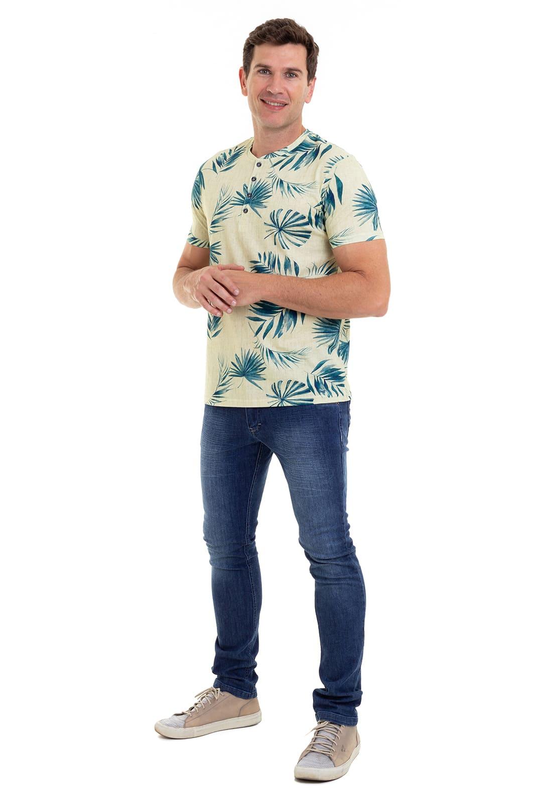 Camiseta Henley Estampada  Hifen Amarela
