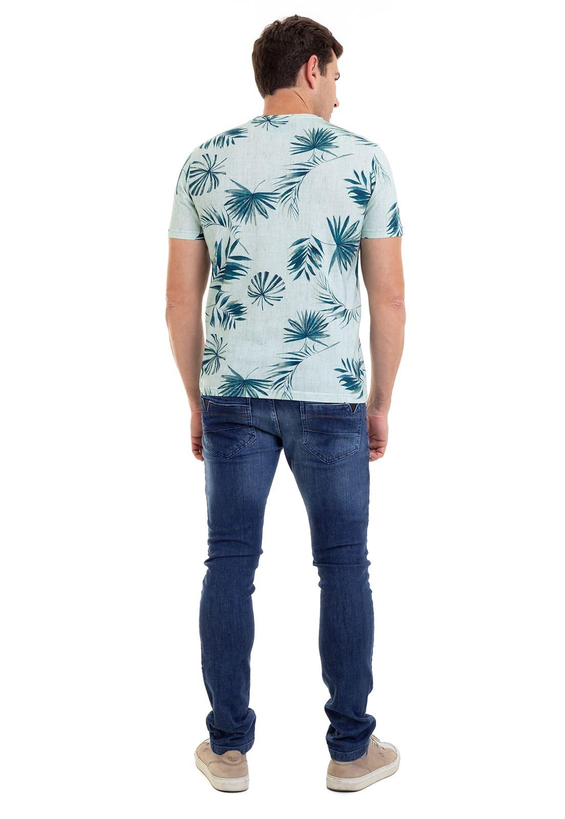 Camiseta Henley Estampada  Hifen Verde