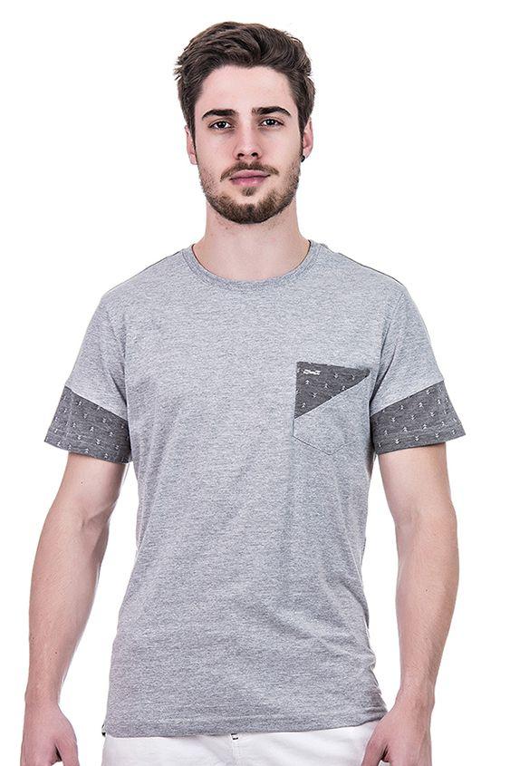 Camiseta Masculina Hifen Minimalista em Malha Mescla