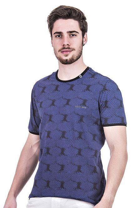 Camiseta Masculina Estampada Hifen Azul e Preta