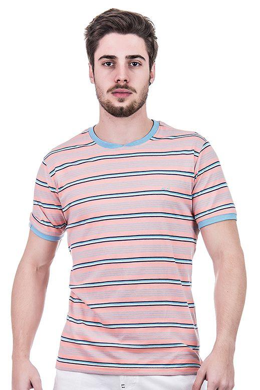 Camiseta Masculina Hifen Listrada Fio Tinto