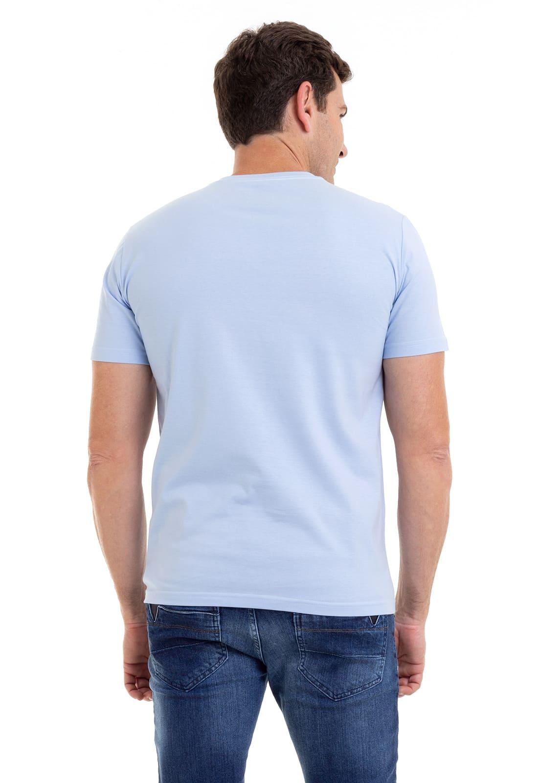 Camiseta Masculina 100% Algodão Super Premium, Na Cor Azul Claro