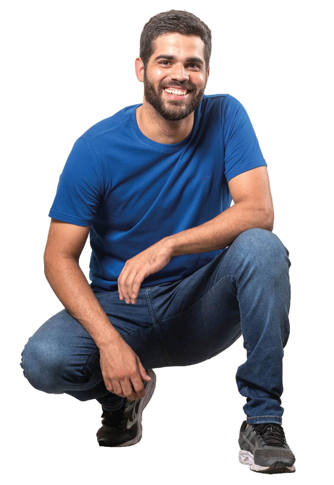 Camiseta Masculina 100% Algodão Super Premium, Na Cor Azul Marinho