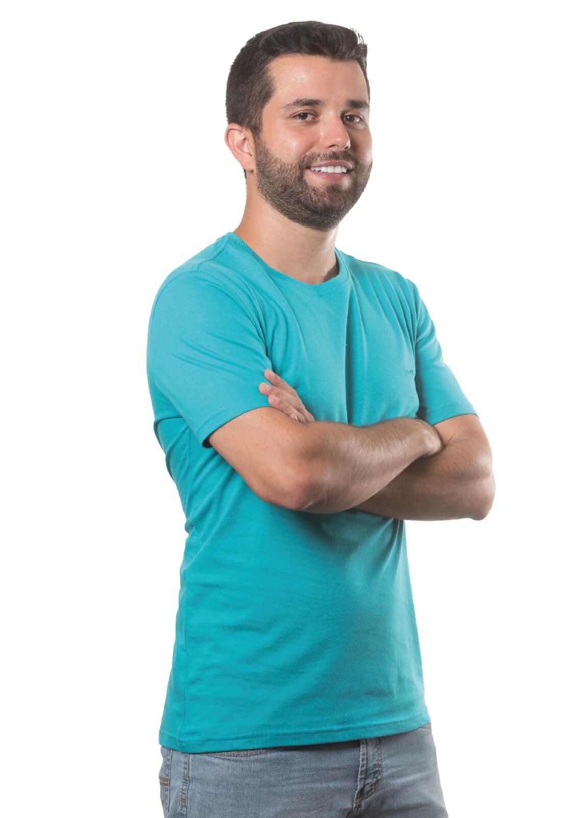 Camiseta Masculina 100% Algodão Super Premium, Na Cor Azul Turquesa