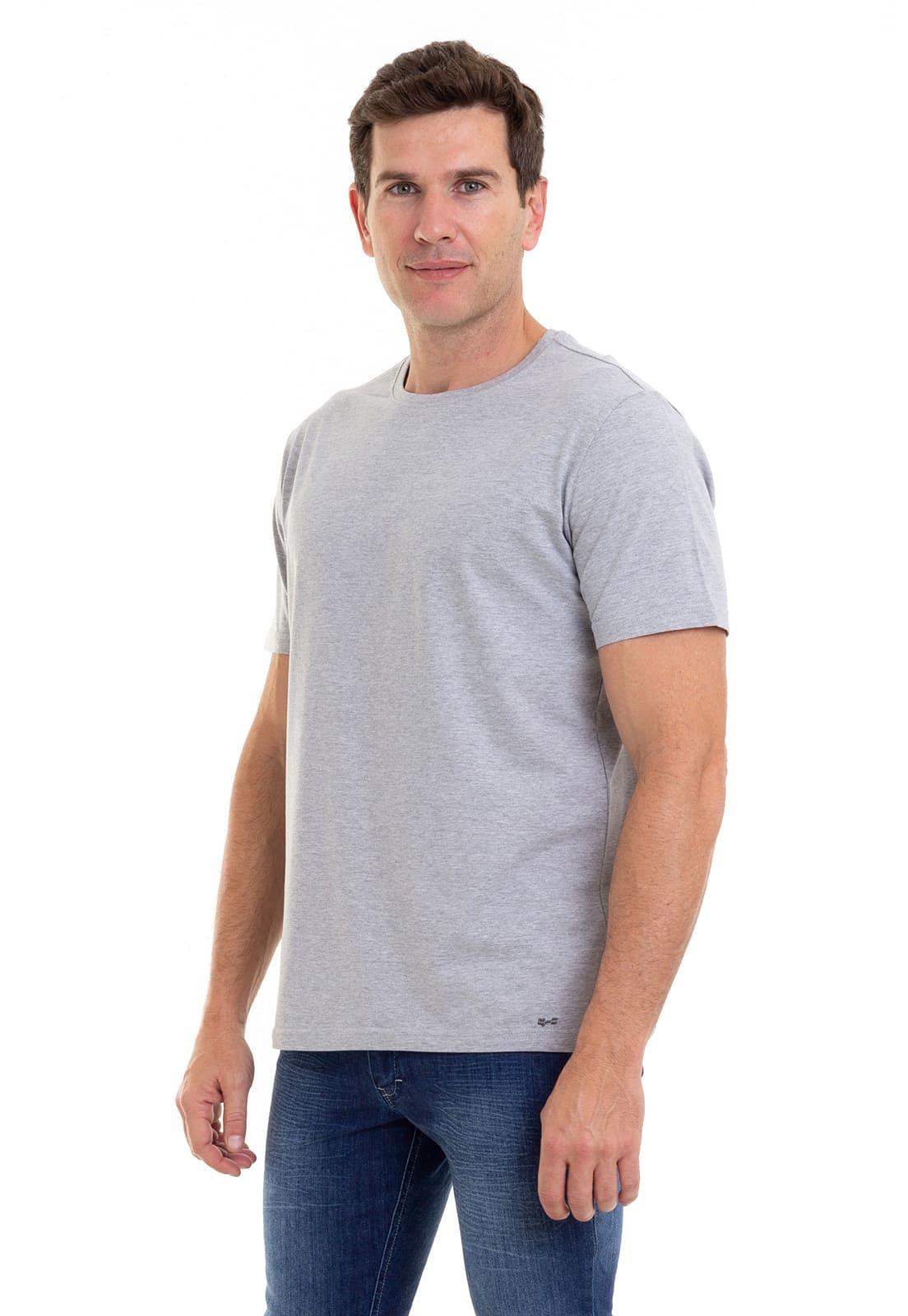 Camiseta Masculina 100% Algodão Super Premium, Na Cor Mescla