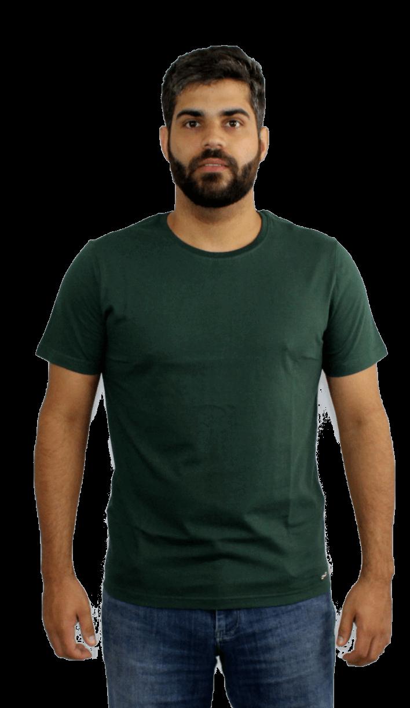 Camiseta Masculina 100% Algodão Super Premium, Na Cor Verde Militar