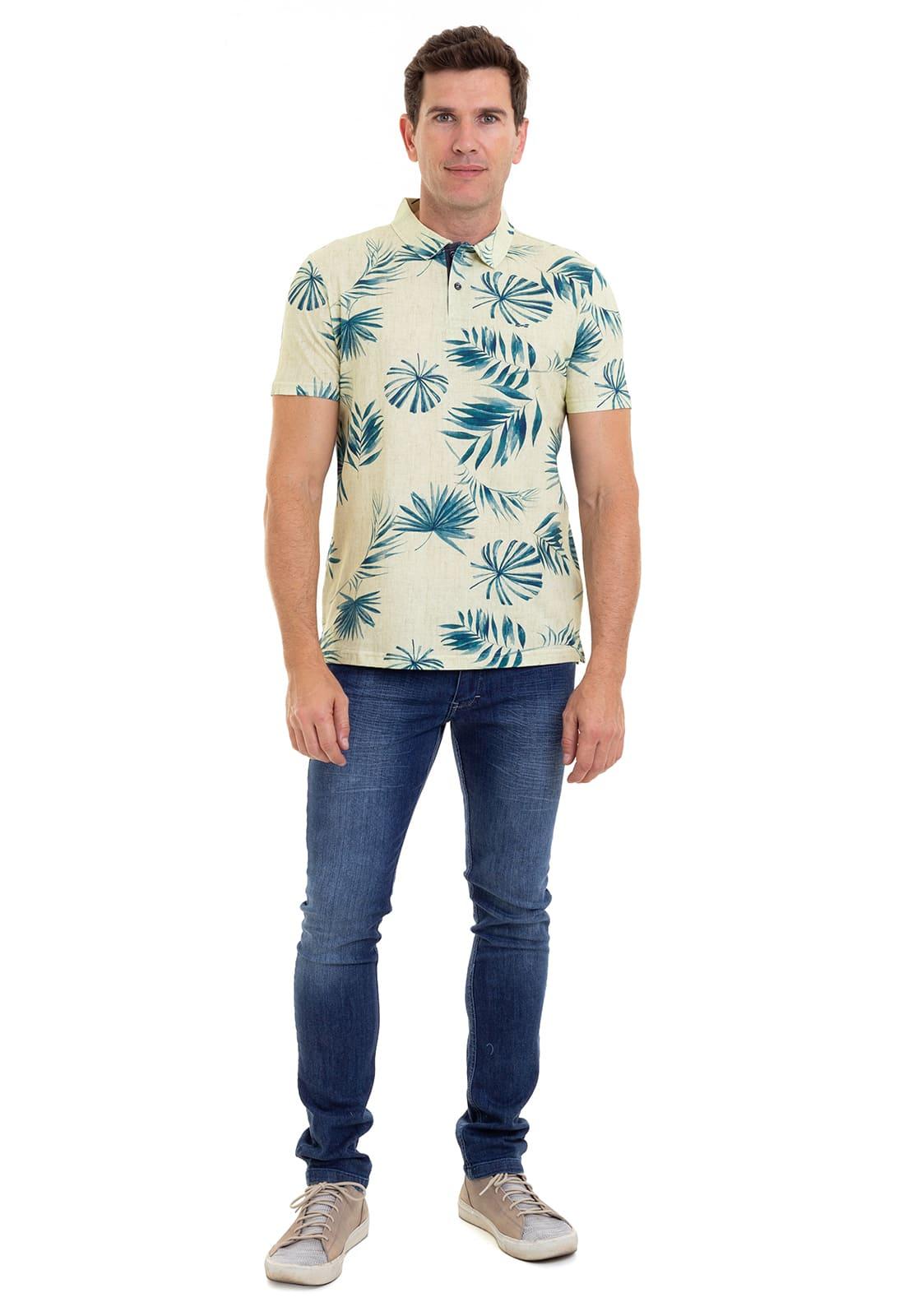 Camiseta Polo Estampada Hifen em Malha Premium