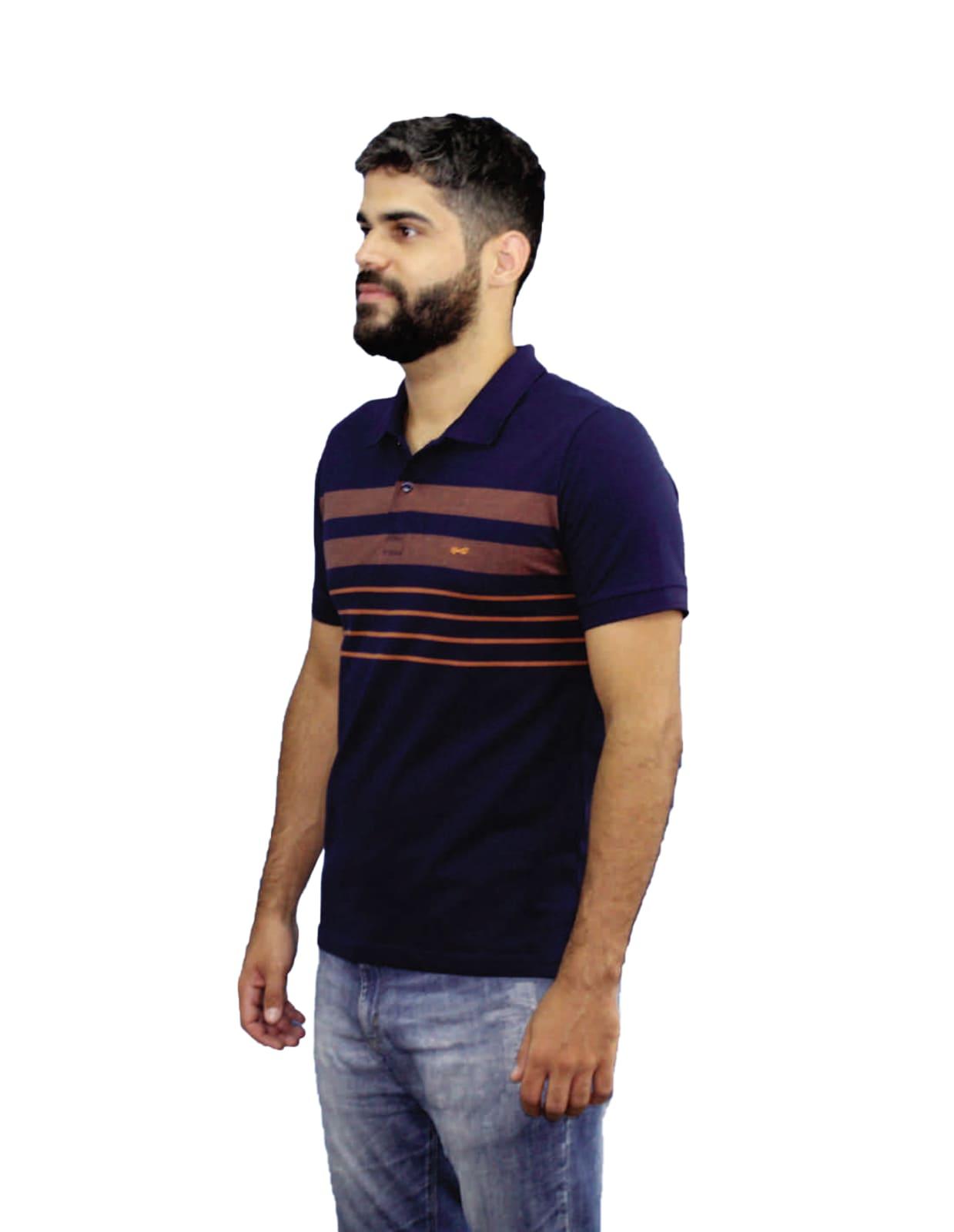 Camiseta Polo Listrada Hifen Azul