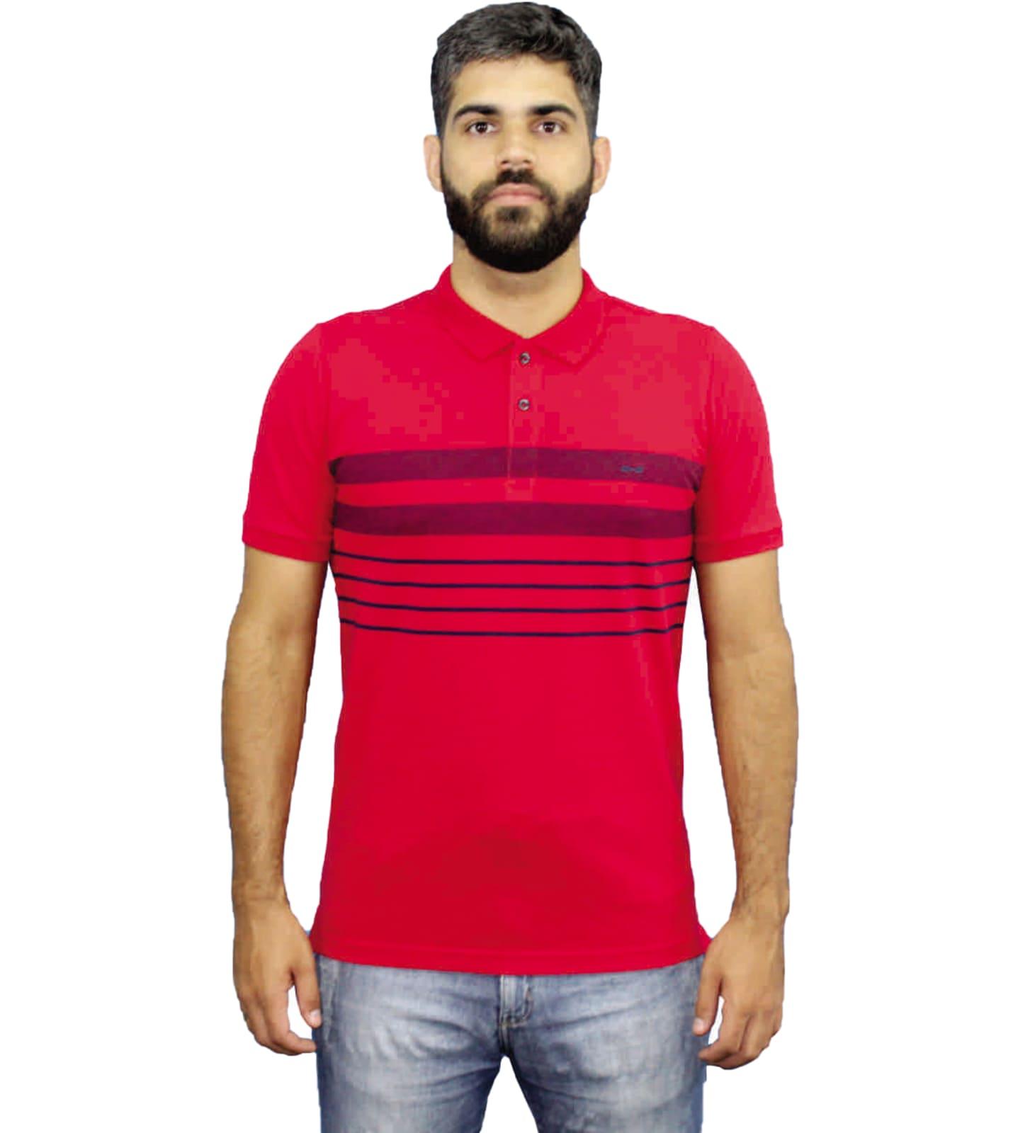 Camiseta Polo Listrada Hifen Vermelha