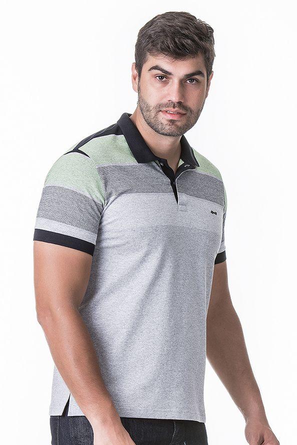 Camisa Polo Masculina Hifen Listrada em Piquet CINZA