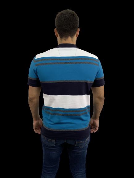 Camisa Polo Hifen Listrada Em Tecido Piquet Azul