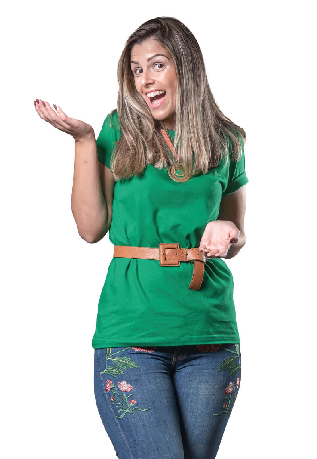Camiseta Feminina 100% Algodão Super Premium, Na Cor Verde