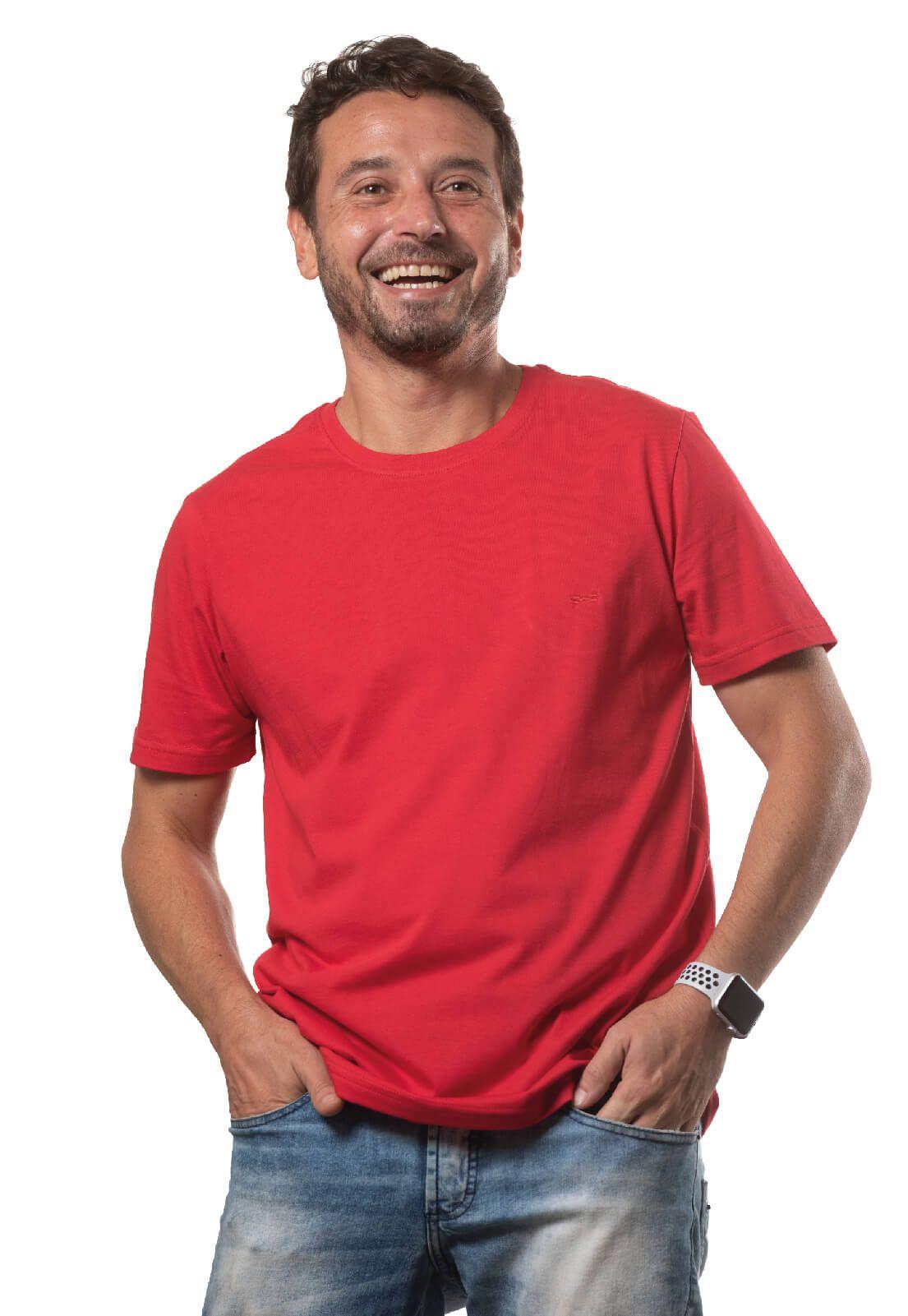 Camiseta Masculina 100% Algodão Super Premium, Na Cor Vermelha