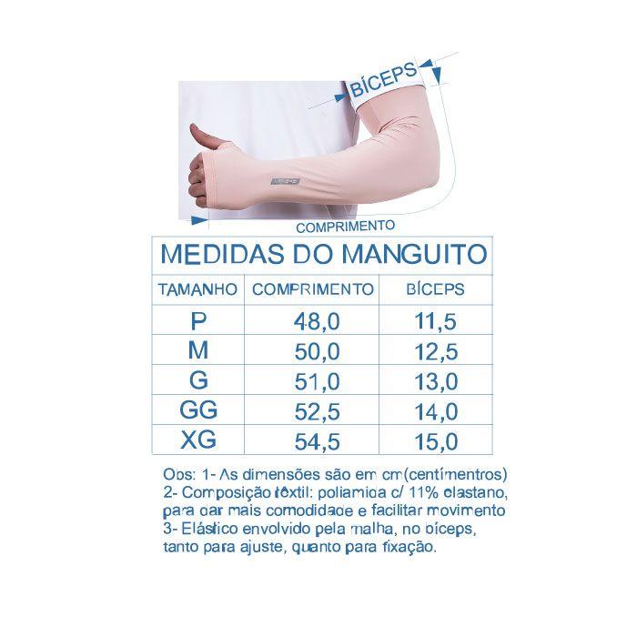 Par de Manguito Liso Proteção para Braços UV 50+ com Punho em Tecido Tecnológico Dry