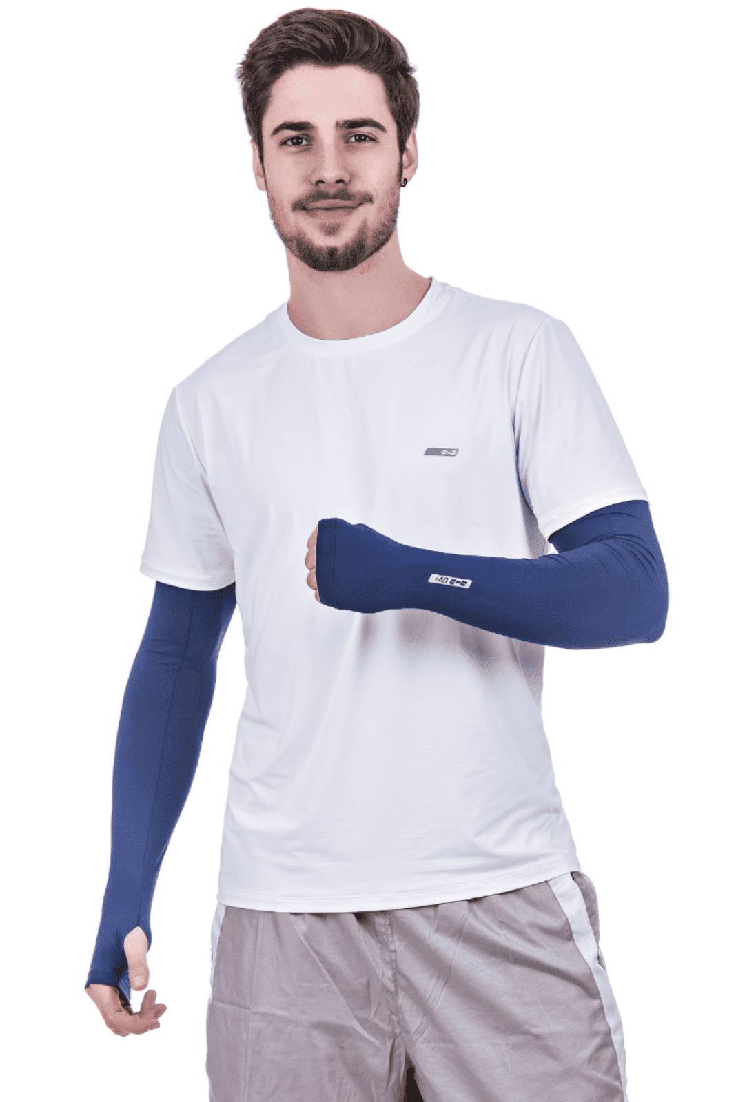 Par de Manguito Liso Proteção para Braços UV 50+ com Punho Azul
