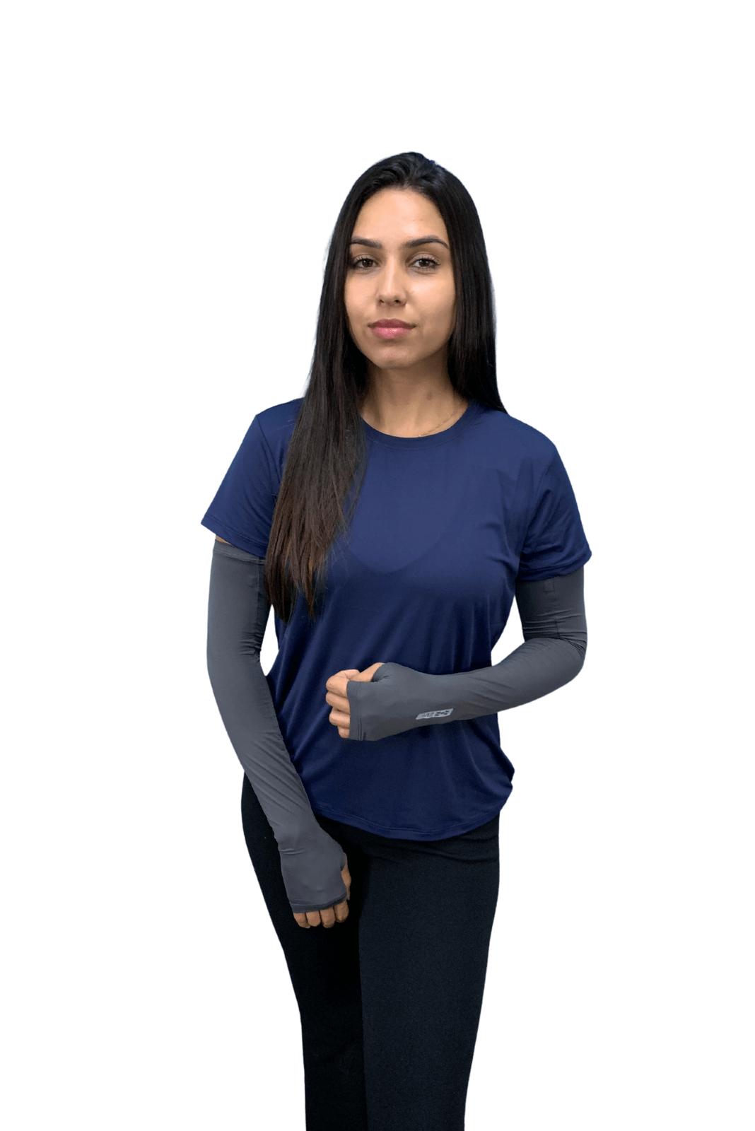 Par de Manguito Liso Proteção para Braços UV 50+ com Punho - Chumbo