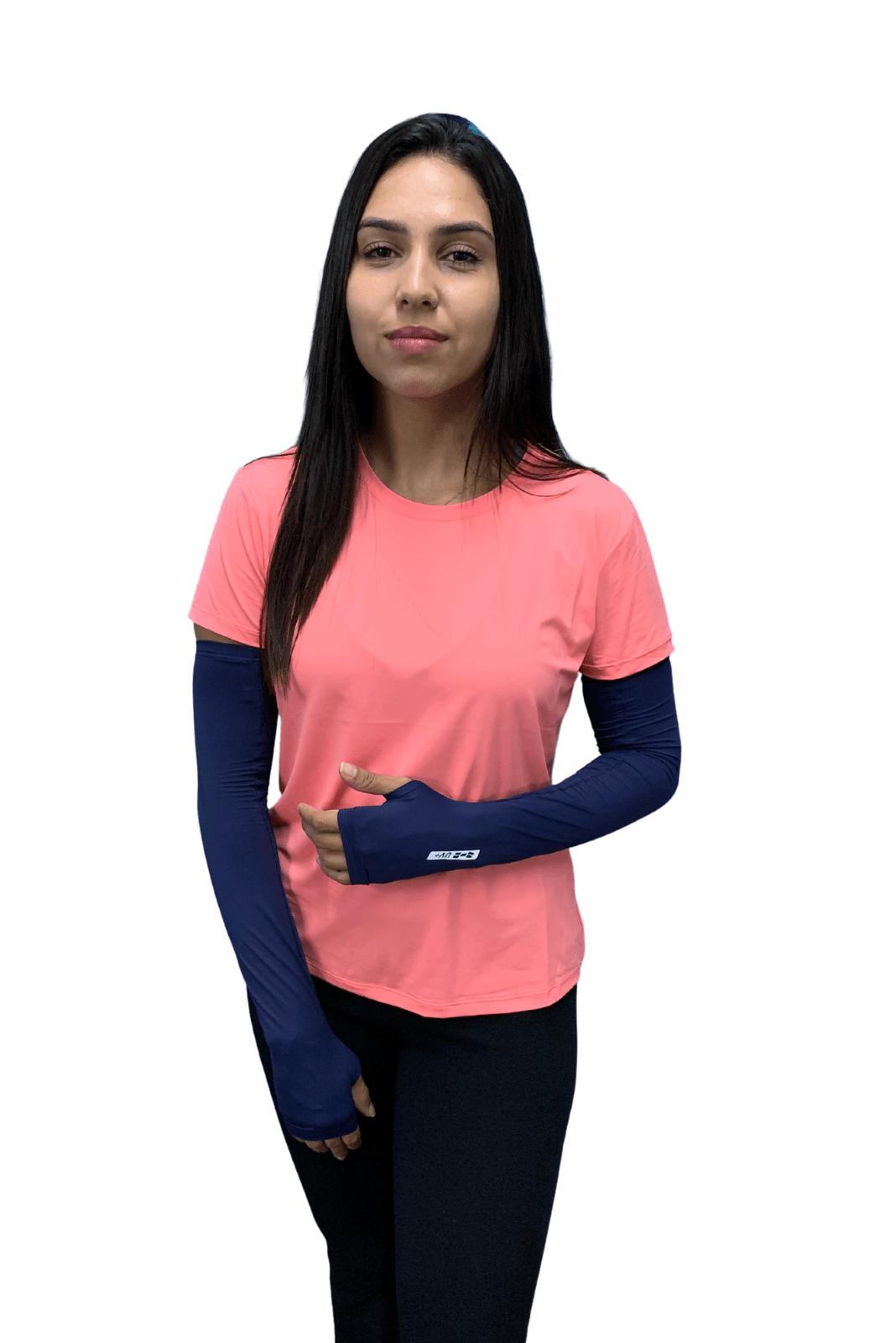 Par de Manguito Liso Proteção para Braços UV 50+ com Punho - Marinho