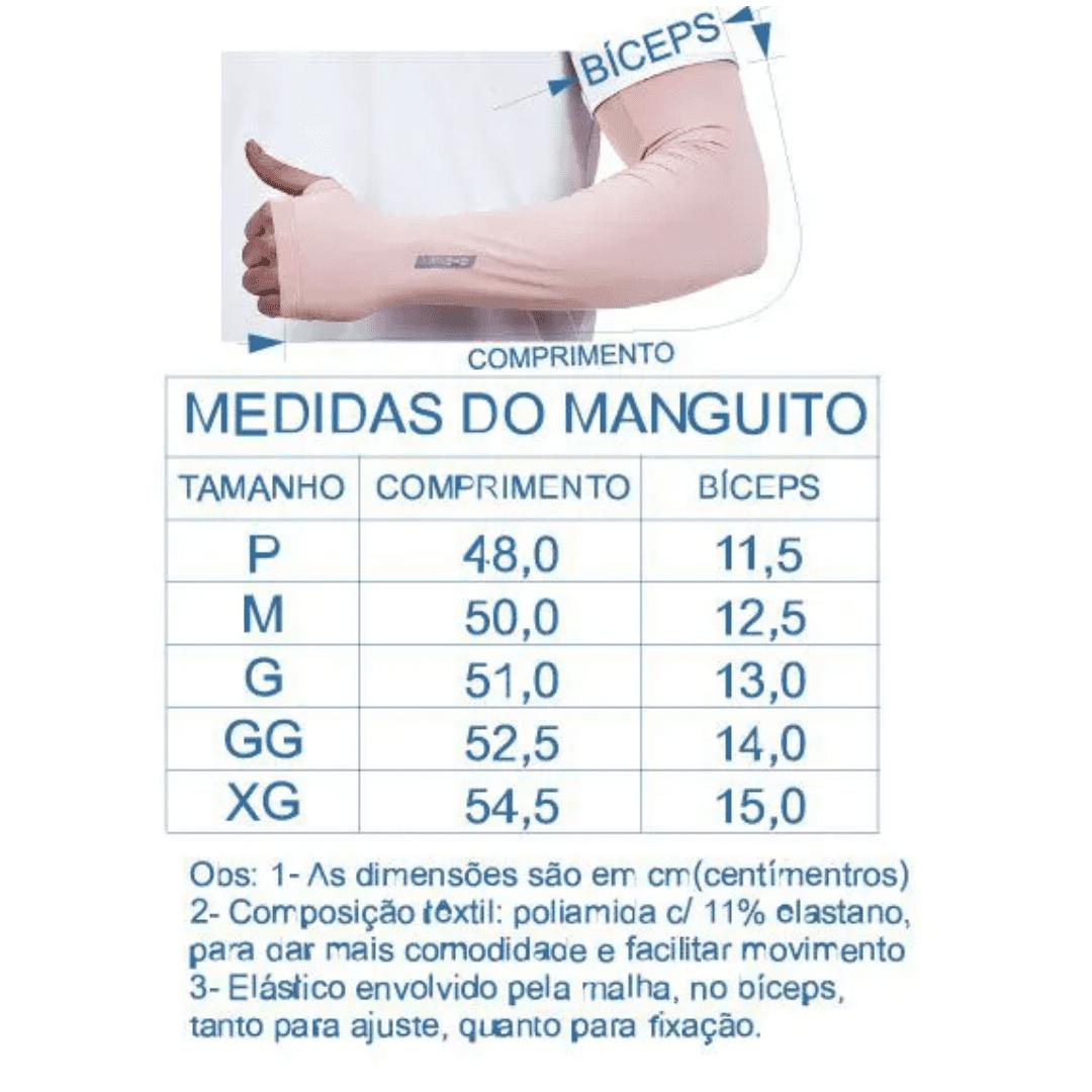 Par de Manguito Liso Proteção para Braços UV 50+ com Punho PRETO