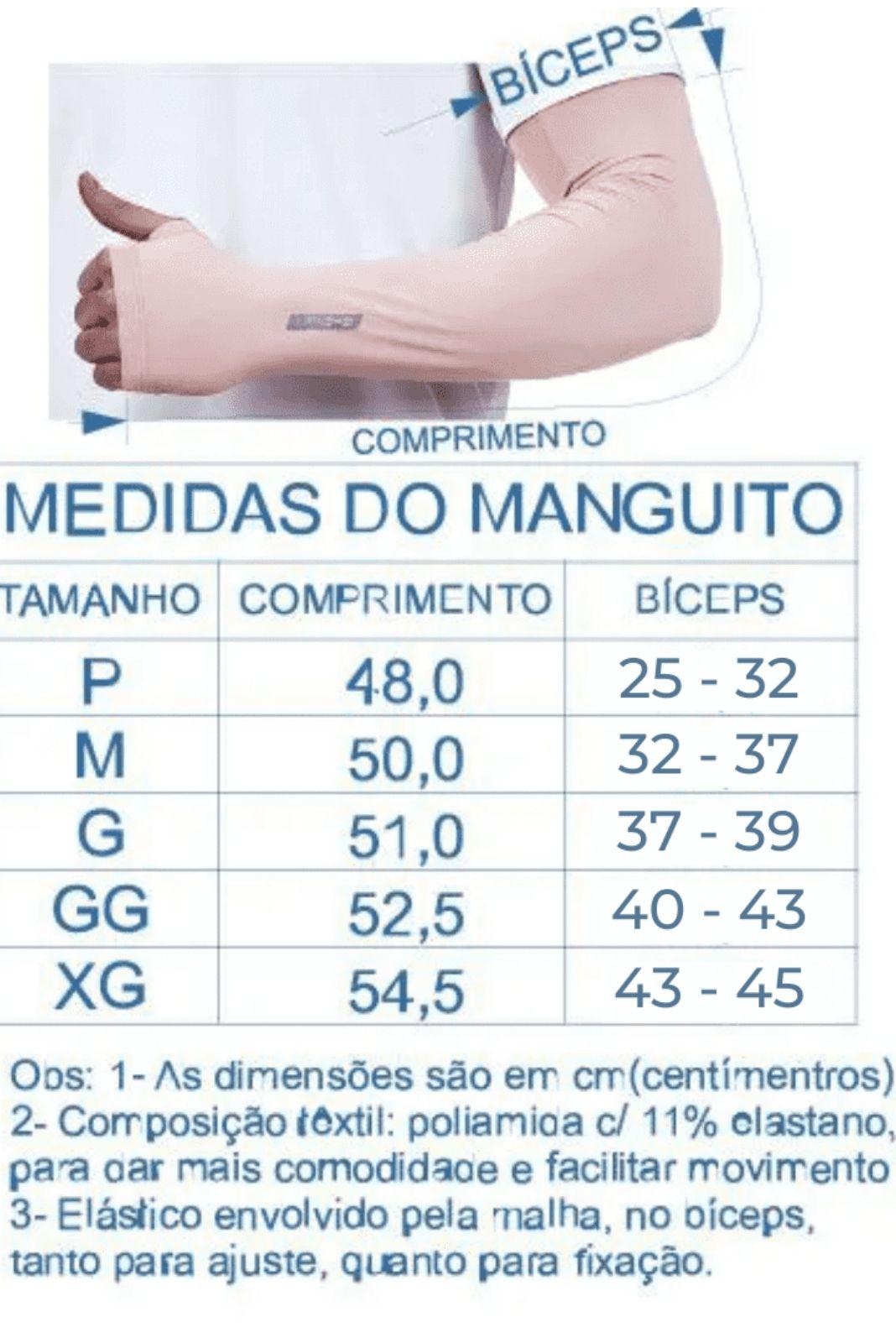 Par de Manguito Liso Proteção para Braços UV 50+ com Punho - Preto