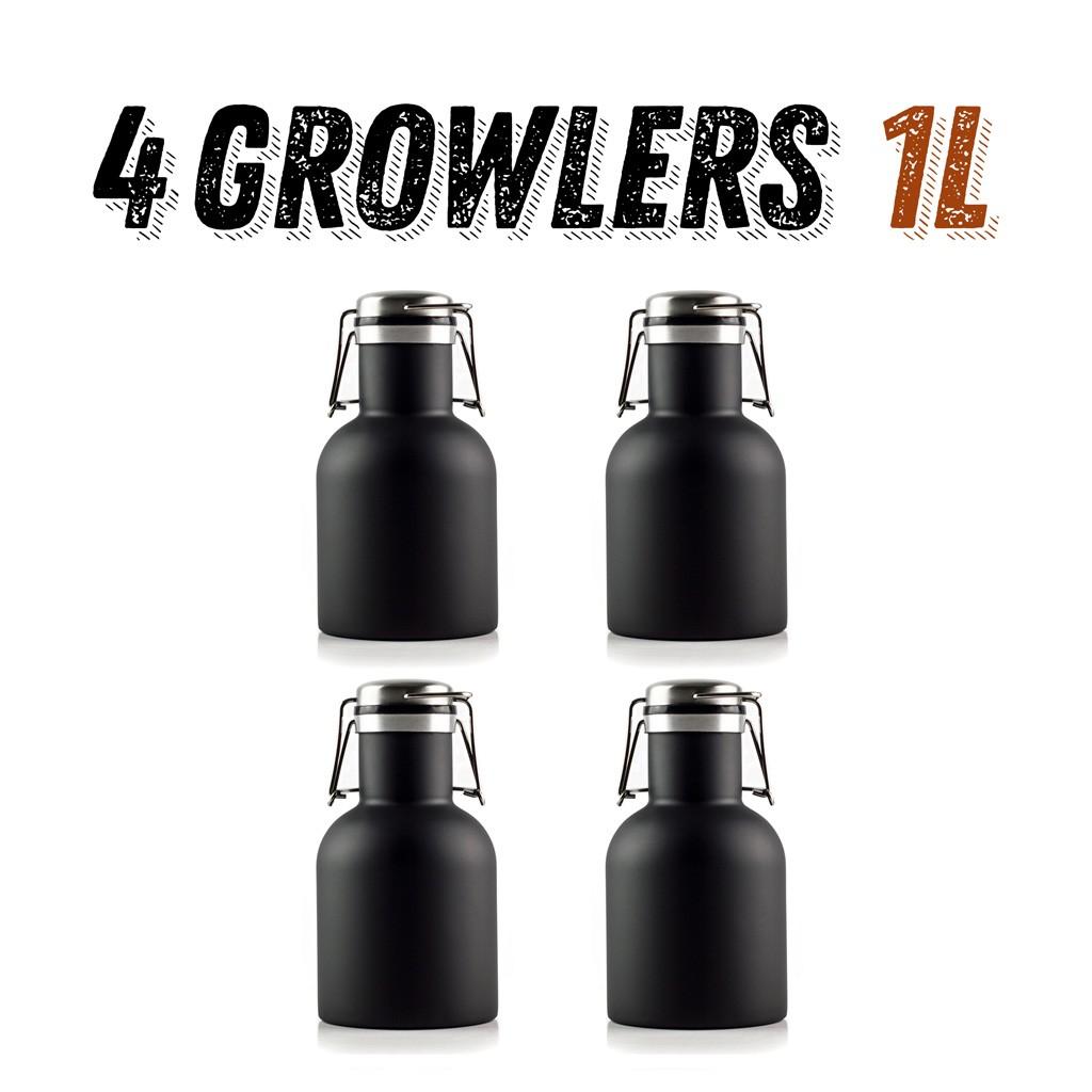4 Growlers Inox 1L  - Básicos