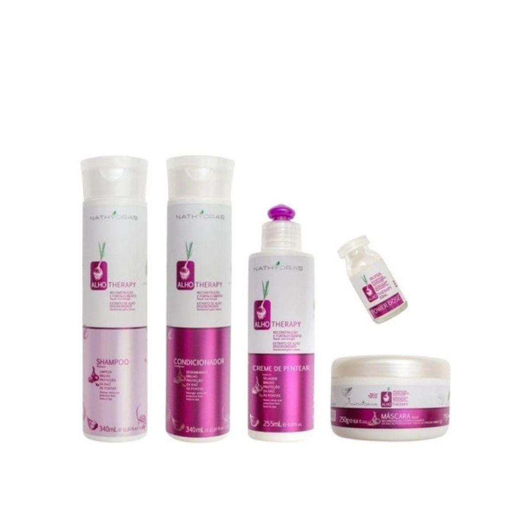 Kit Alho Nathydras Shampoo Condicionador Mascara e Creme de Pentear