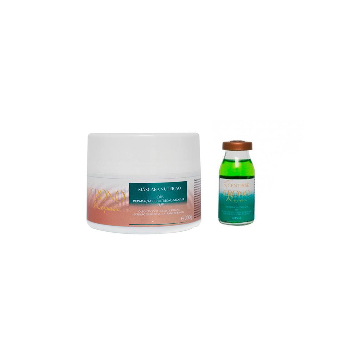 Kit de Nutrição Capilar Mascara Nutritiva + Ampola de Nutrição Crono Repair Centirse para Cabelos Secos e Ressecados