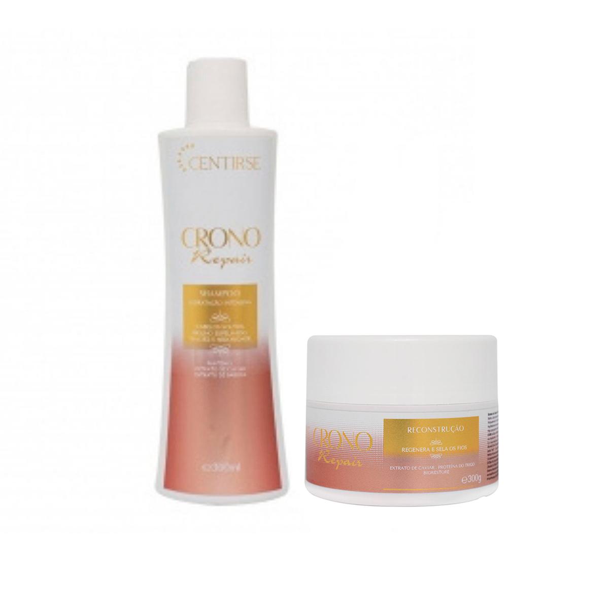 Shampoo e Mascara para Reconstrução Capilar Cabelos Danificados Crono Repair Centirse